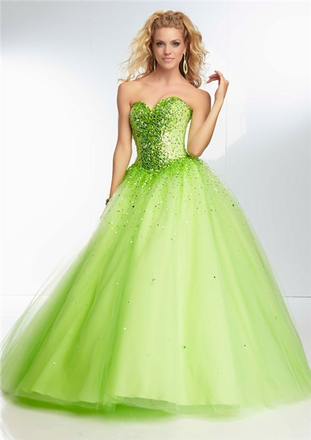 Ball Gown Strapless Sweetheart Corset Back Lime Green ...