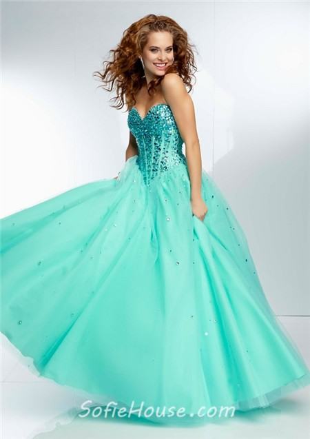 51f055af019 Ball Gown Strapless Sweetheart Corset Back Long Lime Green Tulle Beaded  Prom Dress