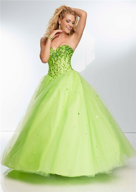 ec11dba0542 Ball Gown Strapless Sweetheart Corset Back Long Lime Green Tulle Beaded Prom  Dress