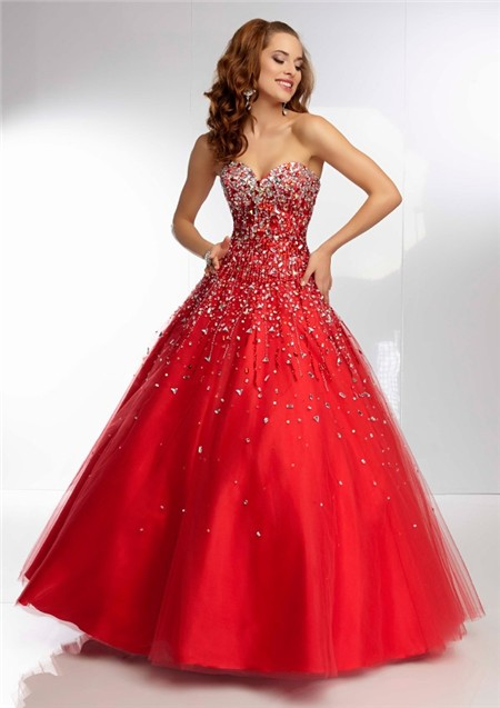 Ball Gown Strapless Sweetheart Corset Back Long Red Tulle Beaded ...