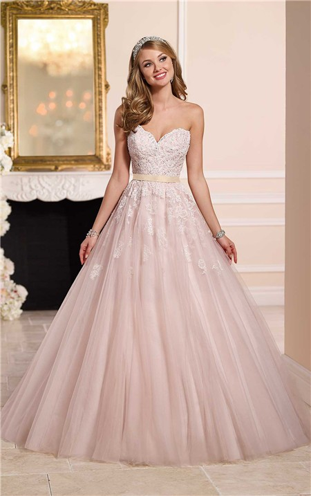 Gown strapless sweetheart dusty pink tulle lace wedding dress gold sash ball gown strapless sweetheart dusty pink tulle lace wedding dress gold sash junglespirit Image collections