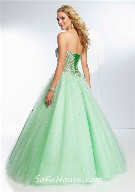 e2bd2861bfe Ball Gown Strapless Sweetheart Long Light Pink Tulle Beaded Prom Dress  Corset Back