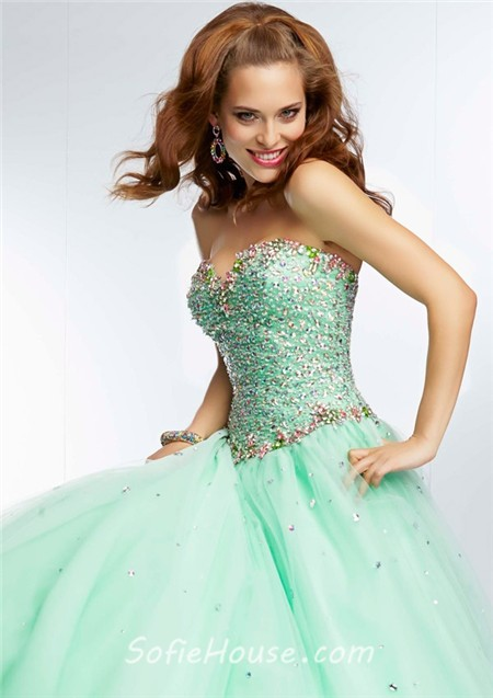 e24e9099f90e Ball Gown Strapless Sweetheart Neckline Pink Tulle Beaded Prom Dress Lace  Up Back