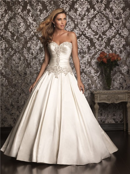 Ball Gown Strapless Sweetheart Satin Ruched Wedding Dress With ...