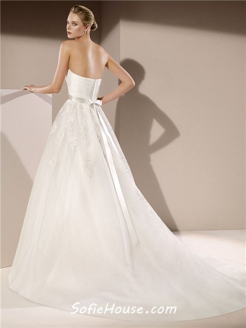 product strapless sashes beading tiered appliques lace wedding dress