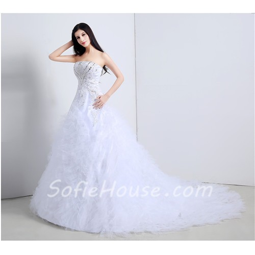 Ball Gown Strapless Tulle Ruffle Applique Corset Wedding Dress ...