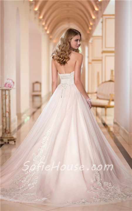Ball Gown Sweetheart Blush Pink Satin Ivory Lace Wedding