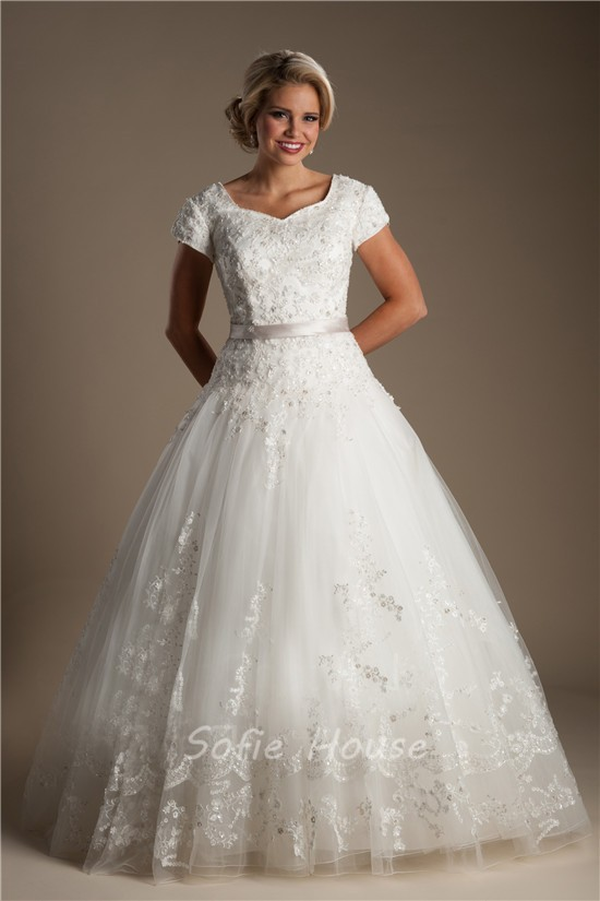 Ball gown sweetheart cap sleeve lace modest wedding dress for Lace sweetheart wedding dress cap sleeves
