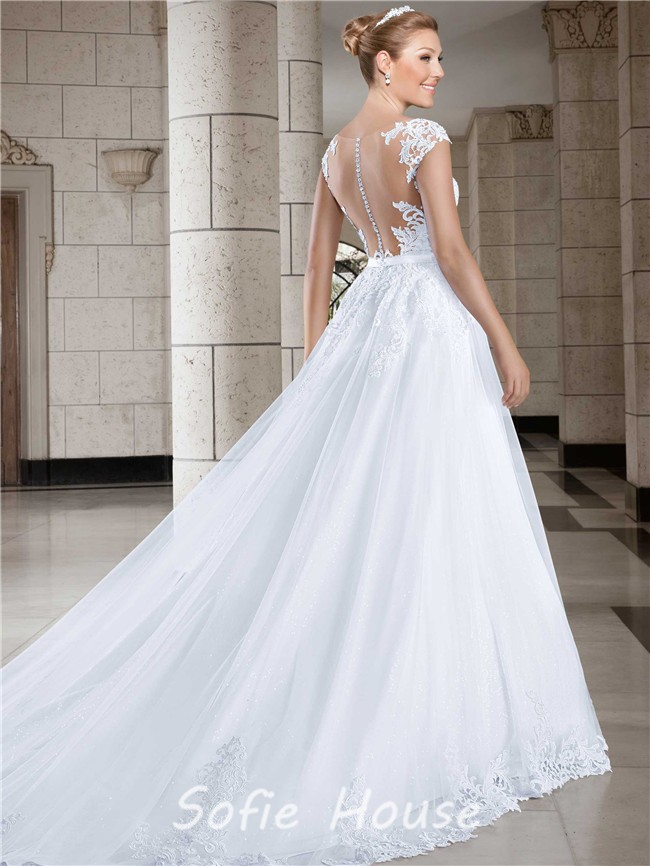 Ball Gown Sweetheart Cap Sleeve Straps Tulle Lace Wedding