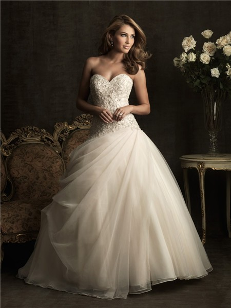 Ball Gown Sweetheart Champagne Color Tulle Wedding Dress With ...