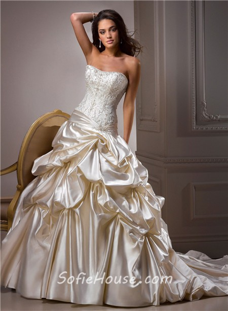 Ball gown sweetheart champagne colored satin embroidery for Color embroidered wedding dress
