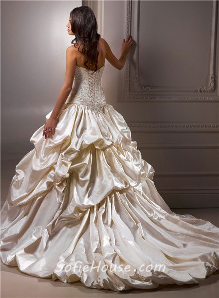 Ball gown sweetheart champagne colored satin embroidery for Champagne ball gown wedding dresses