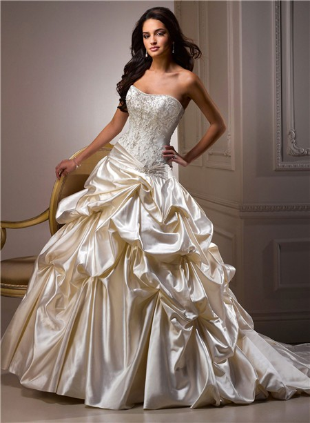 Ball Gown Wedding Dresses Color : Ball gown sweetheart champagne colored satin embroidery