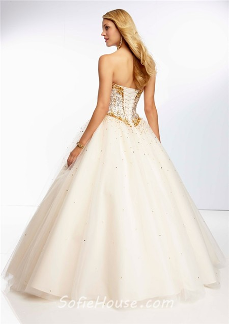 ball gown sweetheart champagne tulle gold beaded prom
