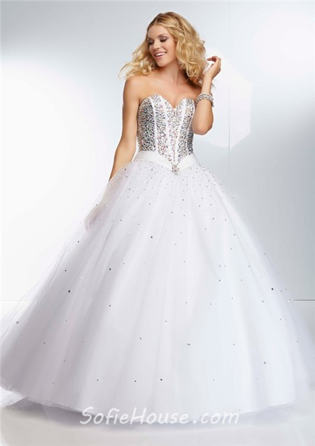 Ball Gown Sweetheart Corset Back Deep Purple Satin Tulle Beaded Prom ...