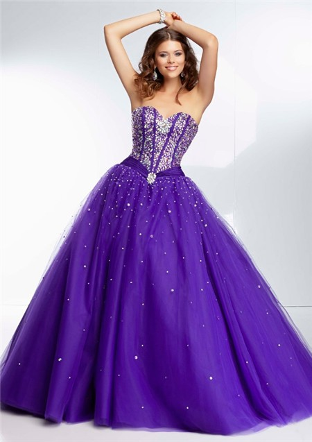 Gown Sweetheart Corset Back Deep Purple Satin Tulle Beaded Prom Dress