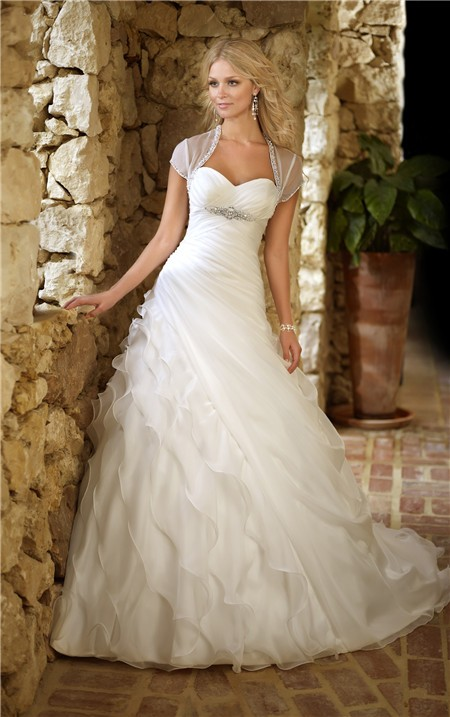 Ball gown sweetheart corset organza ruffle layered wedding for Tulle layered wedding dress