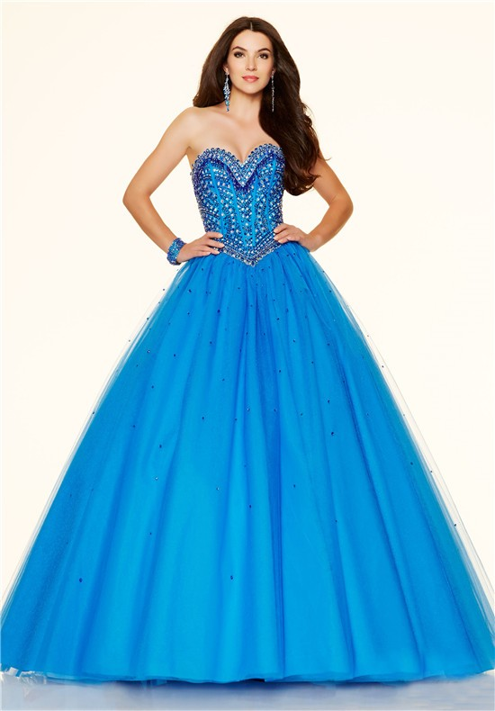 ball gown sweetheart drop waist corset blue tulle beaded