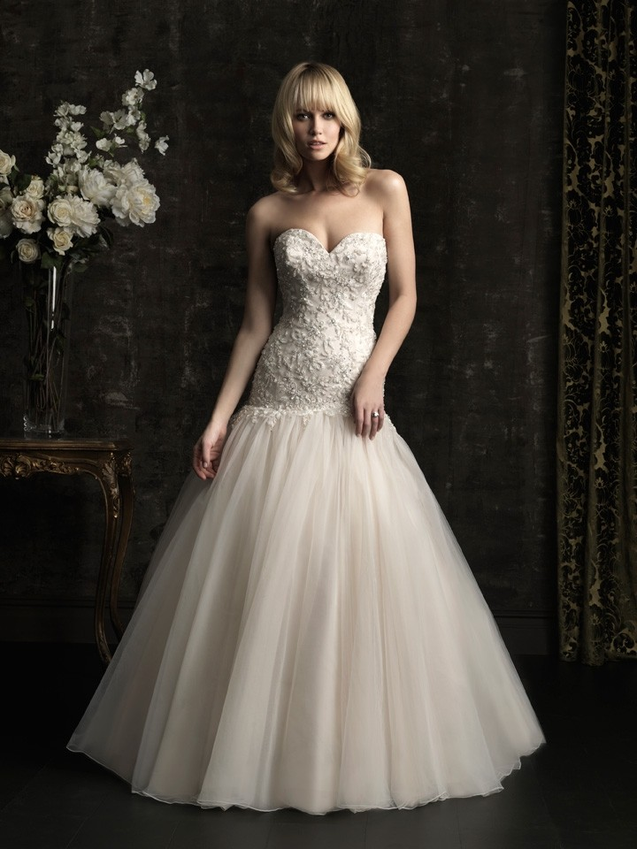 Ball gown sweetheart dropped waist champagne tulle for Sweetheart neckline drop waist wedding dress