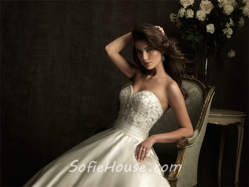Ivory Ball Gown Wedding Dress: Ball Gown Sweetheart Ivory Satin Embroidery Beading