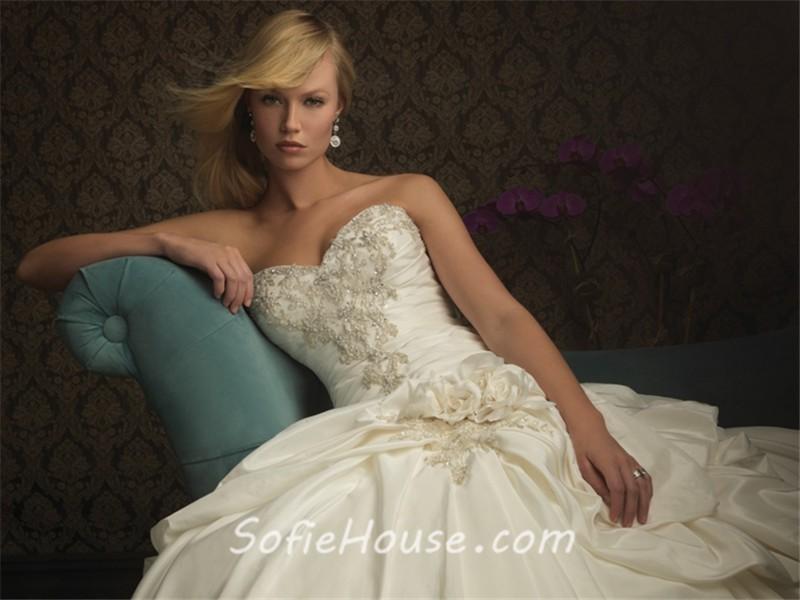 Ivory Ball Gown Wedding Dress: Ball Gown Sweetheart Ivory Taffeta Beaded Sequins Wedding