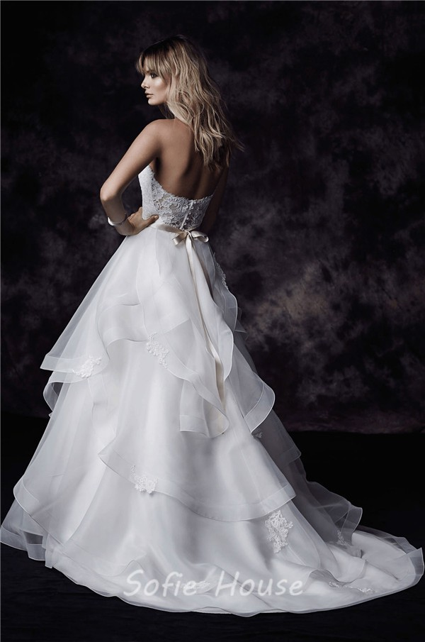 Ball Gown Sweetheart Lace Organza Ruffle Layered Wedding Dress ...