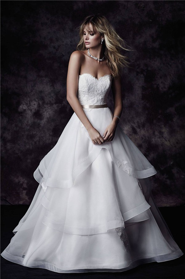 Gown Sweetheart Lace Organza Ruffle Layered Wedding Dress With Sash