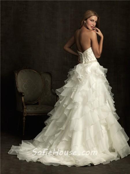 Ball gown sweetheart layer organza ruffle wedding dress Wedding dresses with crystal beading