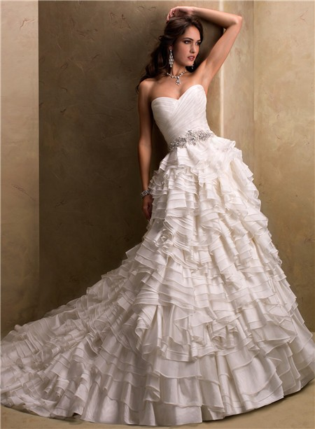 Ball gown sweetheart layered ivory organza wedding dress for Add sparkle to wedding dress