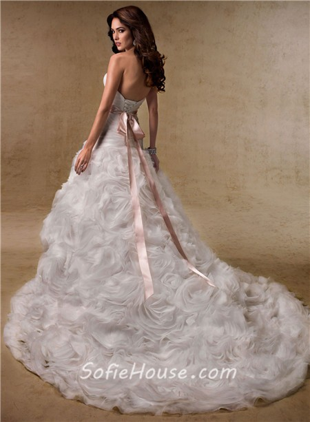 Ball Gown Sweetheart Layered Organza Rosette Wedding Dress With - Rosette Wedding Dress
