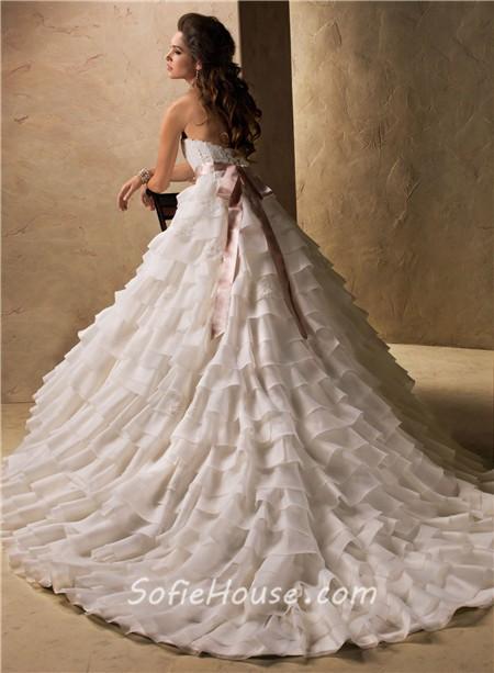 Ball gown sweetheart layered organza ruffle wedding dress for Ruffle ball gown wedding dress