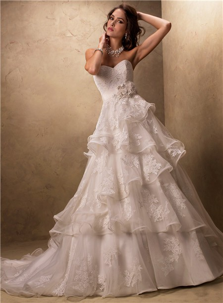 Ball gown sweetheart layered ruffled tulle lace wedding for Tulle layered wedding dress