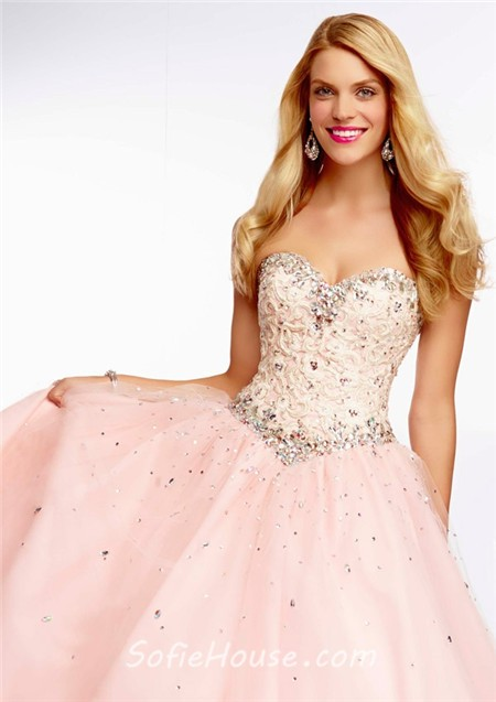 Light Pink Lace Strapless Long Prom Dresses