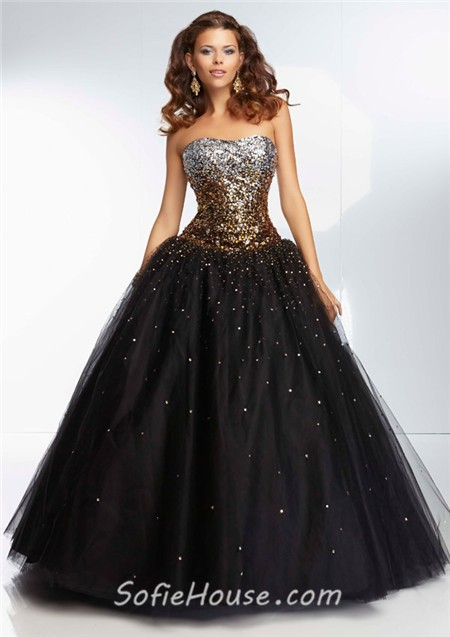 Ball Gown Sweetheart Long Black Tulle Silver Turquoise Blue Ombre ...