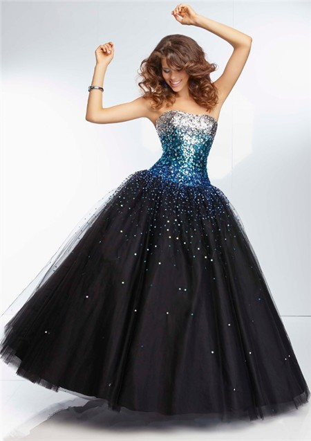 Gown Sweetheart Long Black Tulle Silver Turquoise Blue Ombre ...