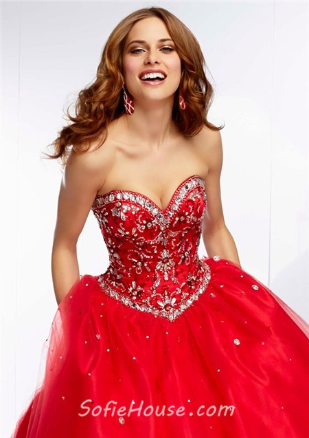 5103950426 Ball Gown Sweetheart Long Champagne Tulle Gold Beaded Prom Dress Corset Back