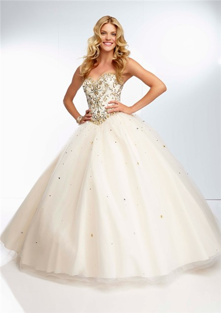 cf783e18a5ab Ball Gown Sweetheart Long Champagne Tulle Gold Beaded Prom Dress Corset Back