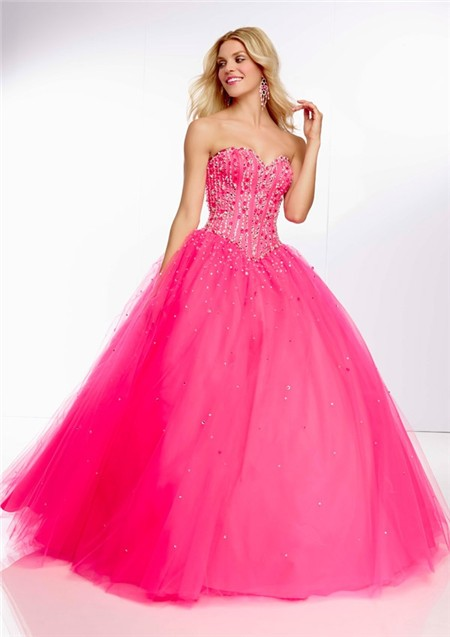fe9c2bd2ac0f Ball Gown Sweetheart Long Hot Pink Tulle Beaded Prom Dress Corset Back