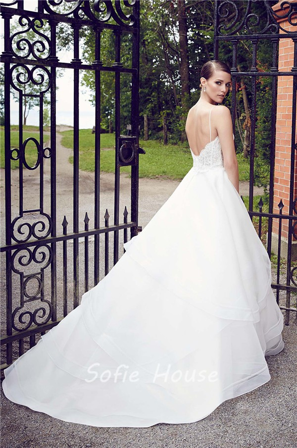 Ball Gown Sweetheart Low Back Spaghetti Strap Organza Layered ...