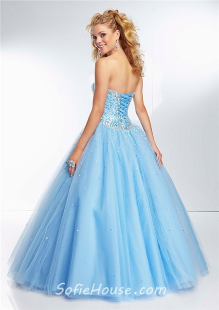 1c831ea414fc Ball Gown Sweetheart Neckline Light Pink Tulle Sequin Beaded Prom Dress  Lace Up Back
