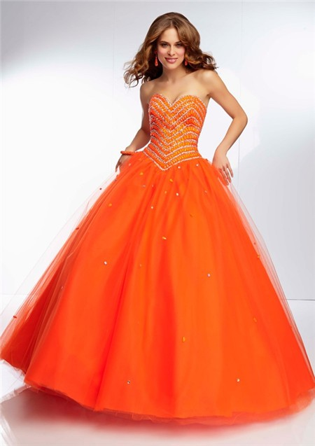 Ball Gown Sweetheart Neckline Long Orange Tulle Tonal Beaded Prom ...