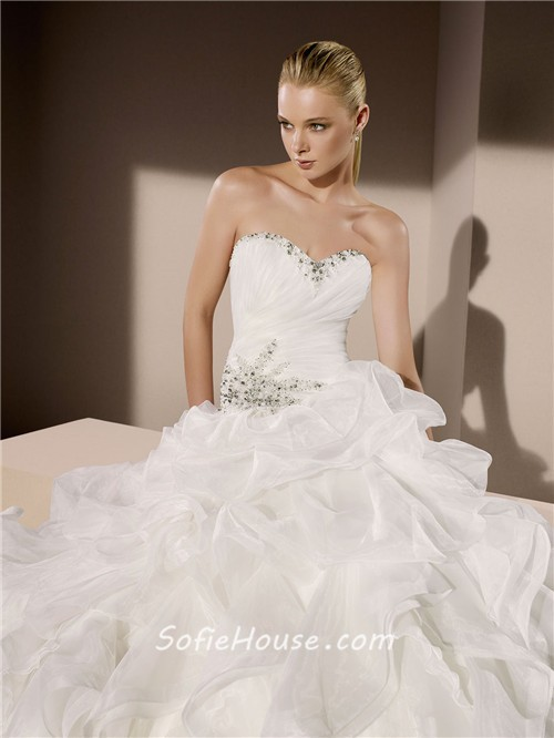 Ball gown sweetheart neckline organza ruffle crystal for Beaded corset wedding dress