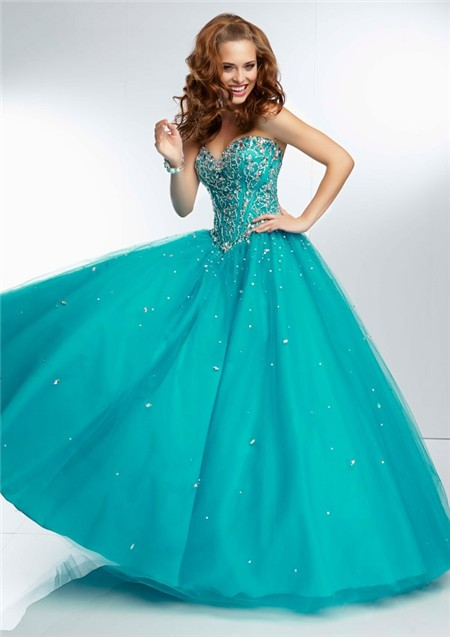 Ball Gown Sweetheart Sheer Illusion Back Long Aqua Tulle Beaded Prom ...