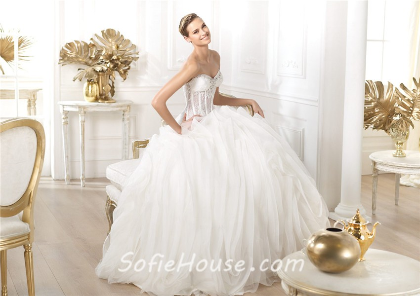 Ball Gown Sweetheart Sheer See Through Lace Organza Corset Wedding ...