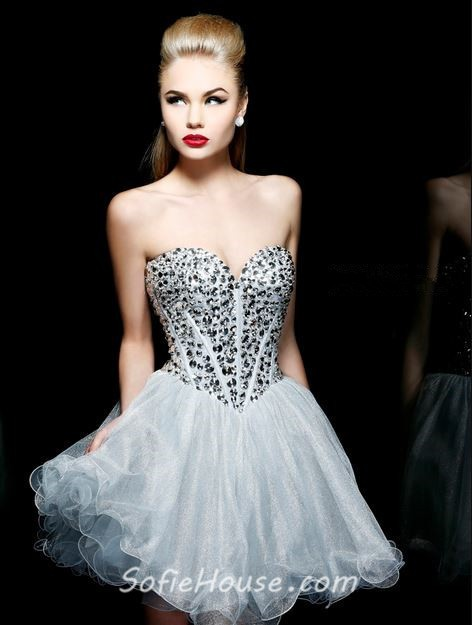 89951b203da Ball Gown Sweetheart Short Mini Tutu Silver Grey Organza Beaded Cocktail  Prom Dress
