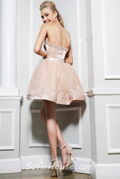 Beaded Sweetheart Short Lace Dress