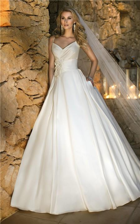 Ball gown sweetheart spaghetti strap tafftea flower for Spaghetti strap ball gown wedding dress