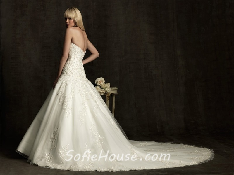 Tulle Ball Gown Wedding Dress: Ball Gown Sweetheart Tulle Lace Applique Wedding Dress