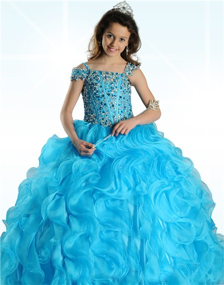 Gown Turquoise Blue Organza Ruffle Beaded Little Girl Prom Dress ...