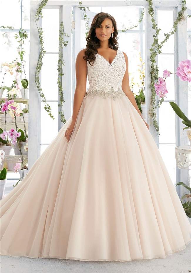 Ball gown v neck organza lace beaded plus size wedding dress for Free plus size wedding dress catalogs